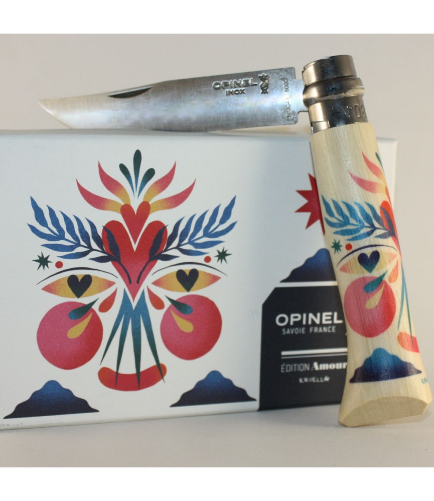 Couteau pliant No 8 Edition AMOUR bois de hêtre Kruella d/'Enfer Opinel