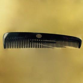 """Peigne à barbe """"Planète Rasoir"""" forme rateau, corne blonde marbrée, 16 dents serrées & 24 dents espacées."""