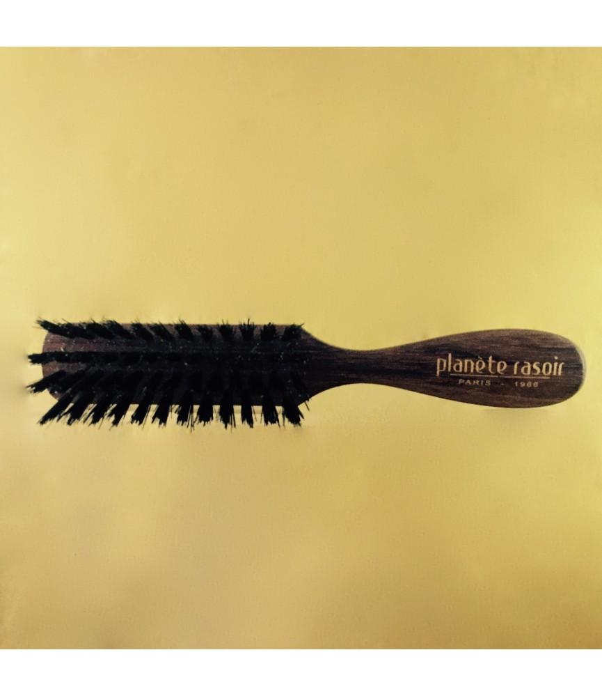 Brosse à barbe Planete rasoir Bubinga teinté palissandre, 4 rangs, Finition main