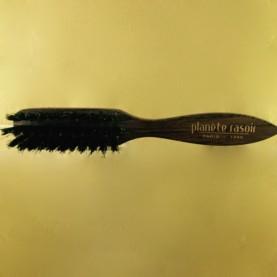 Brosse à barbe Planete rasoir Bubinga teinté palissandre, 3 rangs, Finition main
