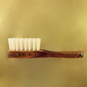 Brosse à barbe soie de porc A manche, 3 rangs, hetre teinté palissandre verni